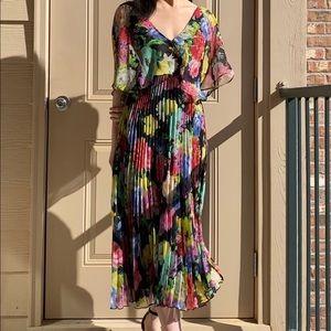 Floral pleated midi dress XS